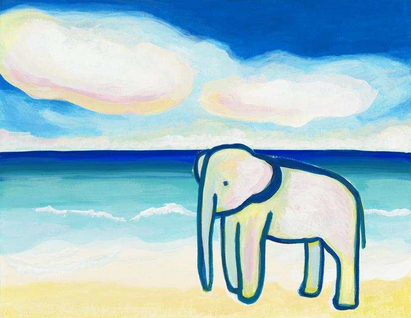 絵画「海とゾウ」山本さちこ/デジタル版画 ☆奥行のあるおしゃれな額入
