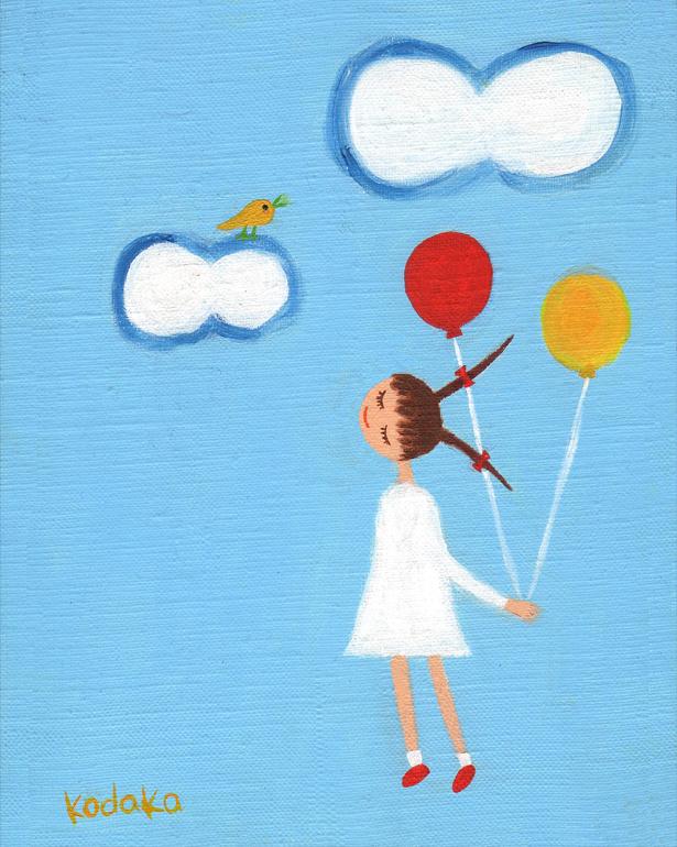 絵画「天まで届け」小高武/原画(油絵) ☆原画のあじわいはまた格別