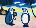絵画「ペンギン」山本さちこ/デジタル版画 ☆奥行のあるおしゃれな額入