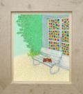 絵画「お気に入りの場所」リュウ/ジクレー ☆スタイリッシュな白の額入
