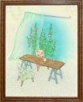 絵画「ほっと一息」リュウ/デジタル版画 ☆奥行のあるおしゃれな額入