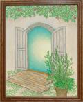 絵画「扉のむこう」リュウ/デジタル版画 ☆奥行のあるおしゃれな額入