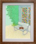 絵画「お気に入りの場所」リュウ/デジタル版画 ☆奥行のあるおしゃれな額入