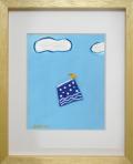 絵画「青いスカートに乗って」小高武/デジタル版画 ☆奥行のあるおしゃれな額入