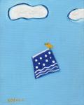 絵画「青いスカートに乗って」小高武/原画(油絵) ☆原画のあじわいはまた格別