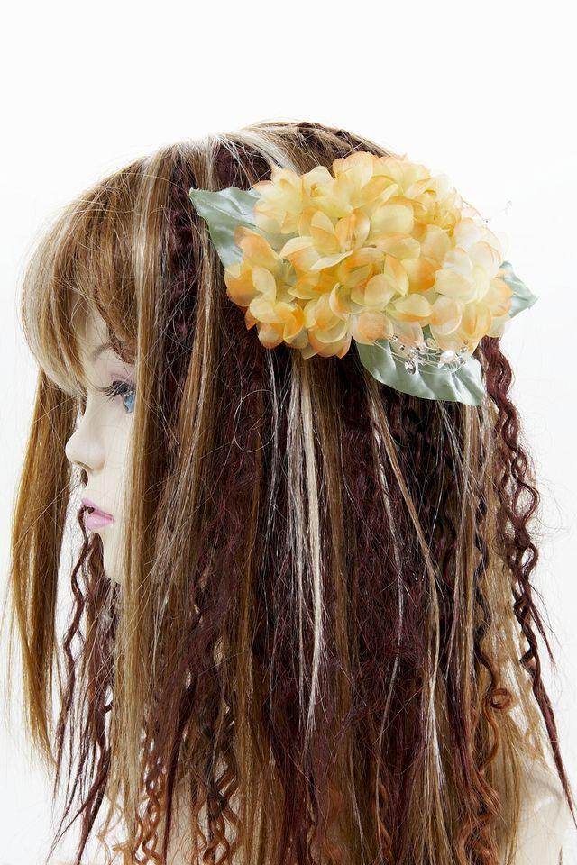 【特価SALE 髪飾り・ヘアアクセサリー】紫陽花−フレッシュオレンジ・バレッタ