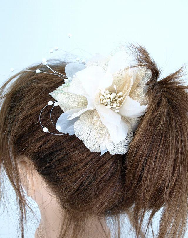 S-1030 和・洋髪飾りUピンタイプ/ホワイト×ゴールド