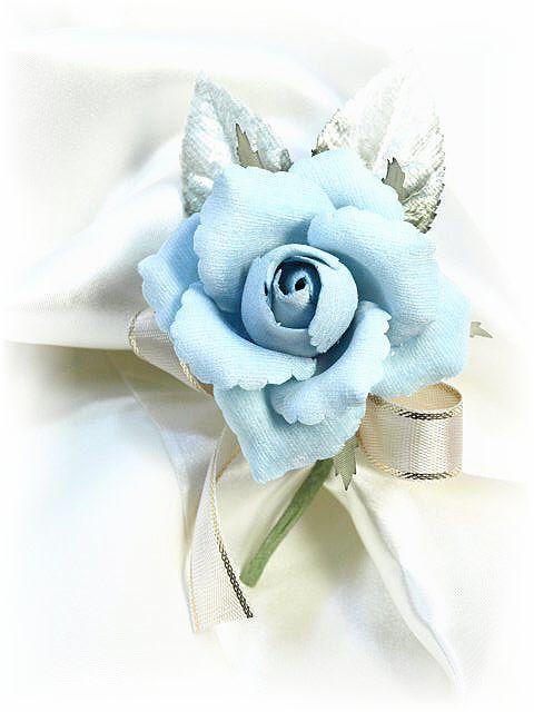 ベルベットローズの手作りコサージュキット(ブルー)