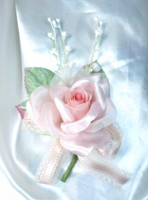 ローズ&スズランのコサージュ(ピンク)