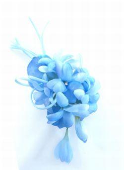 柔らか色のコサージュ(ブルー)