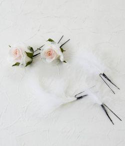 Uピン髪飾り5本セット/エンジェルウィング・ピンク