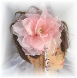 S-2042 和・洋両用髪飾り(大輪薔薇/コームタイプ)ピンク