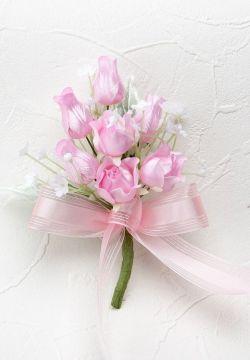 リトルチューリップとミニバラのコサージュ手作りキット(ピンク)