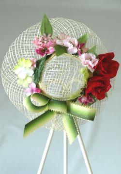 帽子のコサージュ&髪飾り(両用タイプ/レッドミックス)