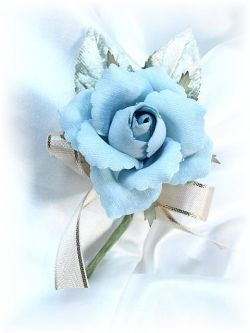 ベルベットローズのミニコサージュ(ブルー)