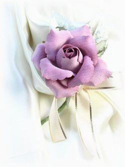 ベルベットローズのミニコサージュ(ピンク)