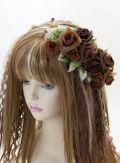 【特価SALE 髪飾り・ヘアアクセサリー】ローズ−ブラウン×グリーン・コームタイプ
