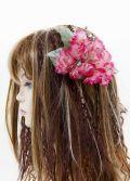 【特価SALE 髪飾り・ヘアアクセサリー】紫陽花−ピンクレッド・バレッタ