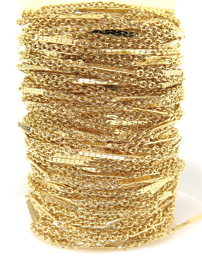 14kgfフラットバーテクスチャーチェーン(1.6mm)(10センチ)「ゴールドフィルド」(1本)