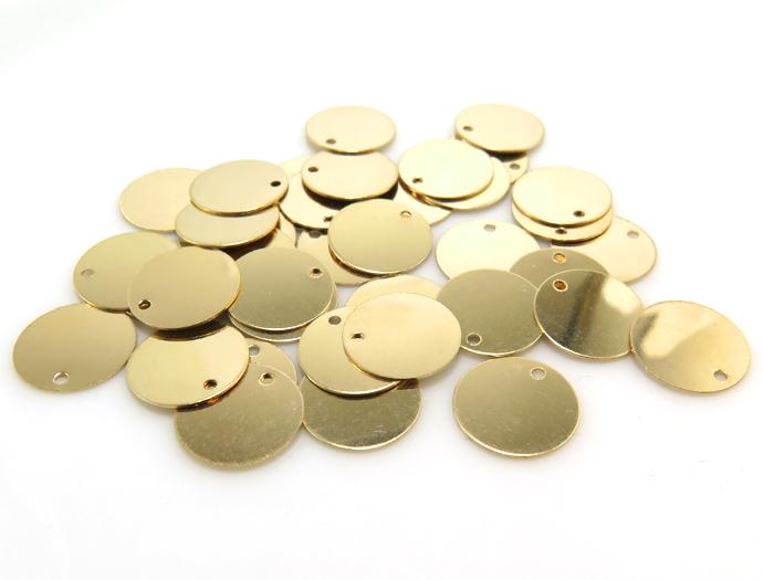 14kgf板カン ディスク ・タグ(ラウンド)(10mm)「ゴールドフィルド」(10個)
