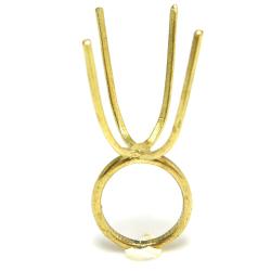 指輪 空枠 リング ラフストーン・タンブル~カボション 4本爪 50×50mm 真鍮ブラス・ゴールドカラー(2個)