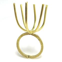 指輪 空枠 リング ラフストーン・タンブル~カボション 6本爪 48mm 真鍮ブラス・ゴールドカラー(3個)