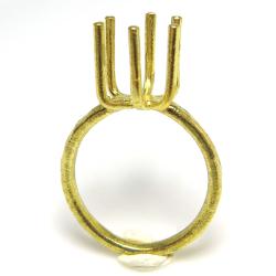 指輪 空枠 リング ラフストーン・タンブル~カボション 6本爪 24mm (サイズ目安:11号)真鍮ブラス・ゴールドカラー(2個)