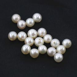 淡水パール真珠(ホワイト系)/片穴パール(ラウンド5~5.5mm)(3個)
