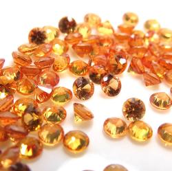 天然石ルース(裸石)・オレンジサファイア(加熱処理)(セイロン・スリランカ)/ラウンド【3mm】ダイヤモンドカット(1個)