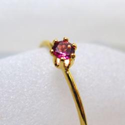 14kgfリング(指輪)天然石ピンクトルマリン3mm(ラウンド)(サイズ目安:10号~11号)「ゴールドフィルド」(1個)
