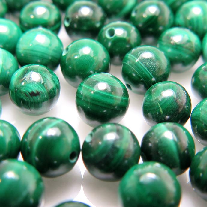 天然石ルース(裸石)マラカイト 丸玉 ラウンドボール 片穴 【5mm】(3個)