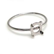 シルバーリングパーツ(指輪)カボション空枠5mm・4本爪(ラウンド/線径1mm)「SV925」(サイズ目安:9号)(1個)