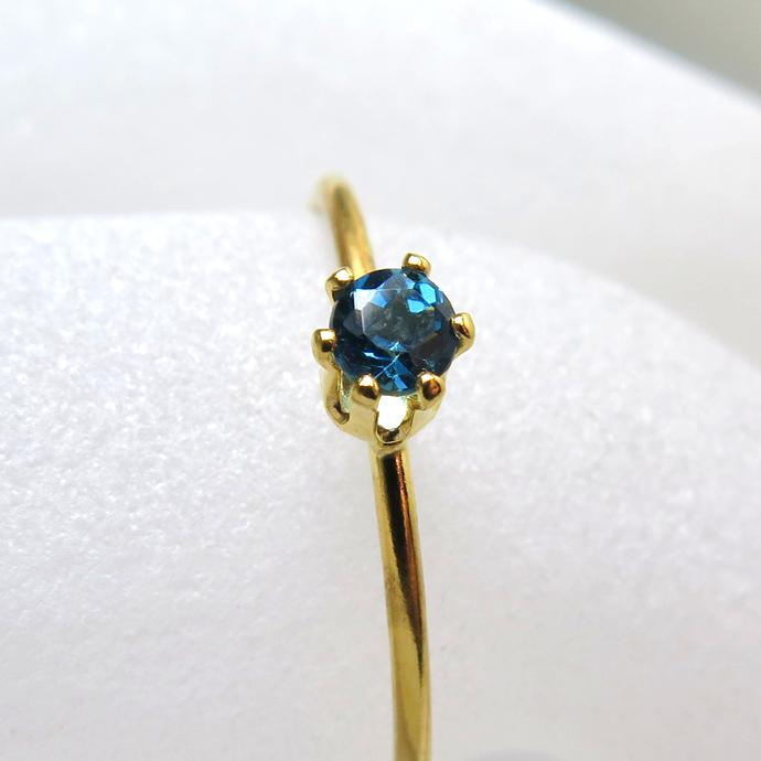 14kgfリング(指輪)天然石ブルートパーズ(ロンドンブルー)3mm(ラウンド)(サイズ目安:10号~11号)「ゴールドフィルド」(1個)
