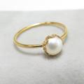 14kgfリング(指輪)淡水パール真珠5mm(カボション・ラウンド)(サイズ目安:10号〜11号)「ゴールドフィルド」(25個)