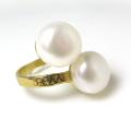 淡水パール(真珠)指輪リング/ハンマード(ボタン11mm×2)(真鍮ブラス・ゴールドカラー)(1個)