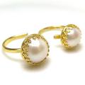 淡水パール指輪リング(真珠)(ベゼルラウンド・12mm+10mm)(真鍮ブラス・ゴールドカラー)(1個)