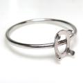 シルバーリングパーツ(指輪)カボション空枠 6×4mm・4本爪(オーバル/線径1mm)「SV925」(サイズ目安:9号)(1個)