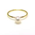 14kgf淡水パール指輪(真珠)リング4~4.5mm(ラウンド)(サイズ目安:7号)「ゴールドフィルド」(1個)