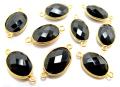 ゴールドプレーテッド・SV925/【コネクター】/天然石ブラックオニキス/オーバル 11×15mm(ベゼルセッティング)(1個)