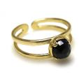 天然石ブラックオニキス・指輪リング(カボションラウンドローズカット・5mm)(真鍮ブラス・ゴールドカラー)(1個)