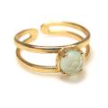 天然石ブルーカルセドニー(染)・指輪リング(カボションラウンドローズカット・5mm)(真鍮ブラス・ゴールドカラー)(1個)