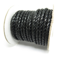 牛革・本革ブレイデッドレザーコード・編み込み丸革紐/ブラック/3mm(1メートル)