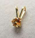 スタッドペンダントトップ「14kgf(ゴールドフィルド)」天然石シトリン3mm/6本爪(2個)