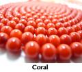 コーラル(珊瑚・サンゴビーズ)(染・レッド)/プレーンラウンド 5.5〜5.8mmm(40cm)(1本)
