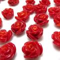 コーラル ルース 薔薇バラ (珊瑚・サンゴ)(染・レッド)/片穴 8.5〜12mm×5〜8mm(3個)