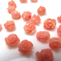 コーラル ルース 薔薇バラ (珊瑚・サンゴ)(染・ピンク)/片穴 6〜7mm×6mm(6個)