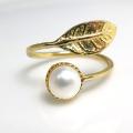 淡水パール指輪リング(真珠)リーフ(カボションラウンド・6mm)(真鍮ブラス・ゴールドカラー)(1個)
