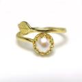 淡水パール指輪リング(真珠)リーフ(ベゼルカボションラウンド・6mm)(真鍮ブラス・ゴールドカラー)(1個)