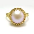 淡水パール指輪リング(真珠)(カボションラウンド・12mm)(真鍮ブラス・ゴールドカラー)(1個)