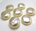純国産ガラスパール 片穴  ボタン カボション バロックパール ミガキ 14mm ビンテージパールカラー[A](1個)